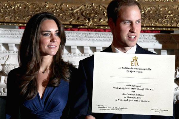 william and kate wedding. prince william wedding invite.