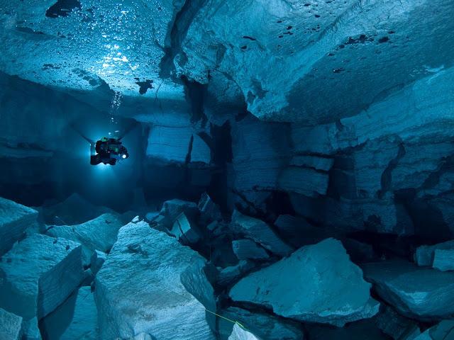 orda cave, russia, picture, depth, size, swim, diver