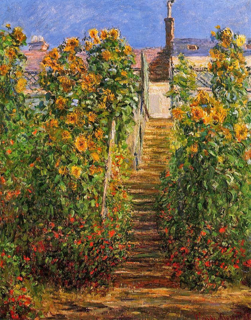 Claude Monet 1881 The Artistu0027s Garden At Vétheuil Oil On Canvas 80 X 65 Cm  Private Collection