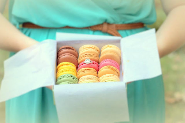 engagement ring in macarons