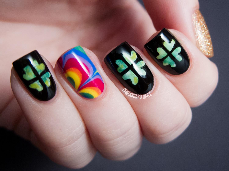 Shamrocks, Rainbows, and Gold, Of Course! | Chalkboard Nails | Nail ...