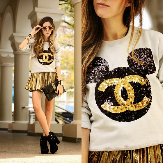 Golden Fashionable Mini Skirt with Chanel Chance, White T-Shirt, Accessories, Black High-Heeled, Modern Boots and Adorable, Clutch Bag