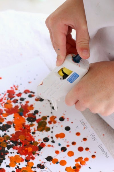 Melted crayon art with a glue gun