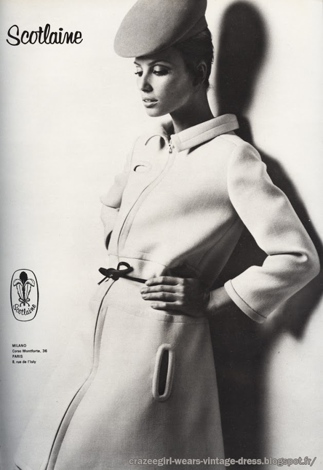 Pierre Cardin dress - Robe en triple lainage double face - 1968 60s 1960