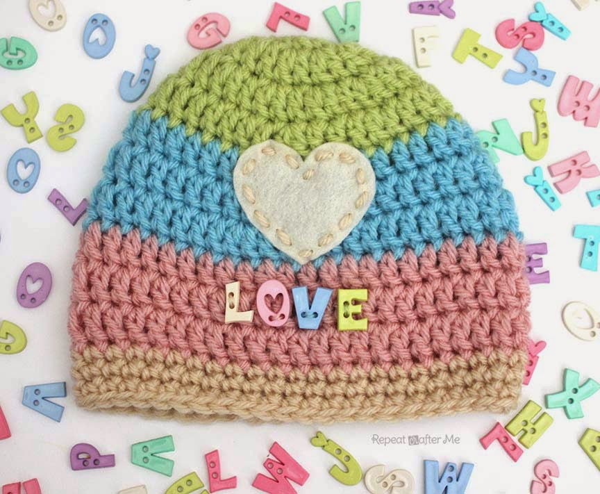 Love Button Crochet Hat Repeat Crafter Me