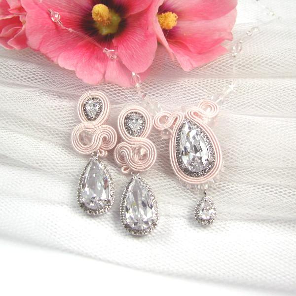 Kolczyki i naszyjnik ślubny sutasz różowy