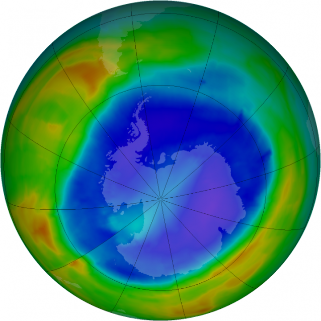 A view of total ozone over the Antarctic pole on Sept. 8, 2014. The purple and blue colors are where there is the least ozone, and the yellows and reds are where there is more ozone. (Credit: NASA) Click to enlarge.