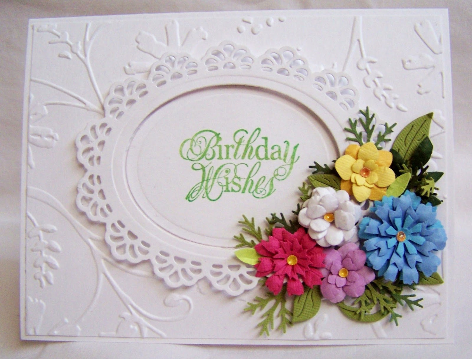 Paper in the pines birthday wishes i have really enjoyed working with my flower punches and flower pieces cut with my cricut i put some of them to use on this card izmirmasajfo Choice Image
