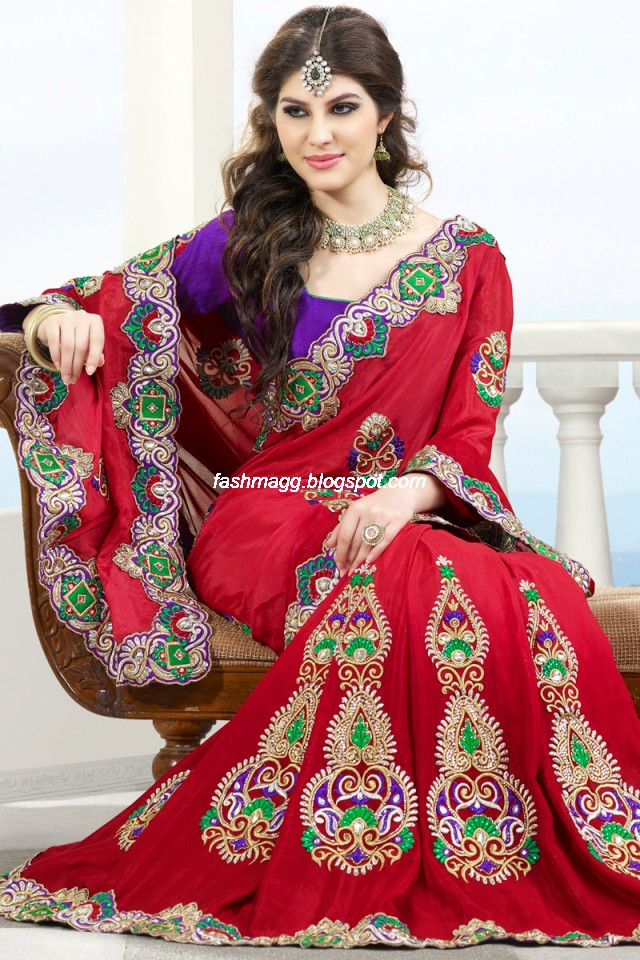 Fashion Style Indian Sarees For Wedding Bridal Wear Collection 2013 Latest Printed