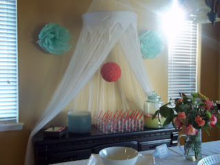 baby shower for my dil teal poufs on the wall styrofoam ball