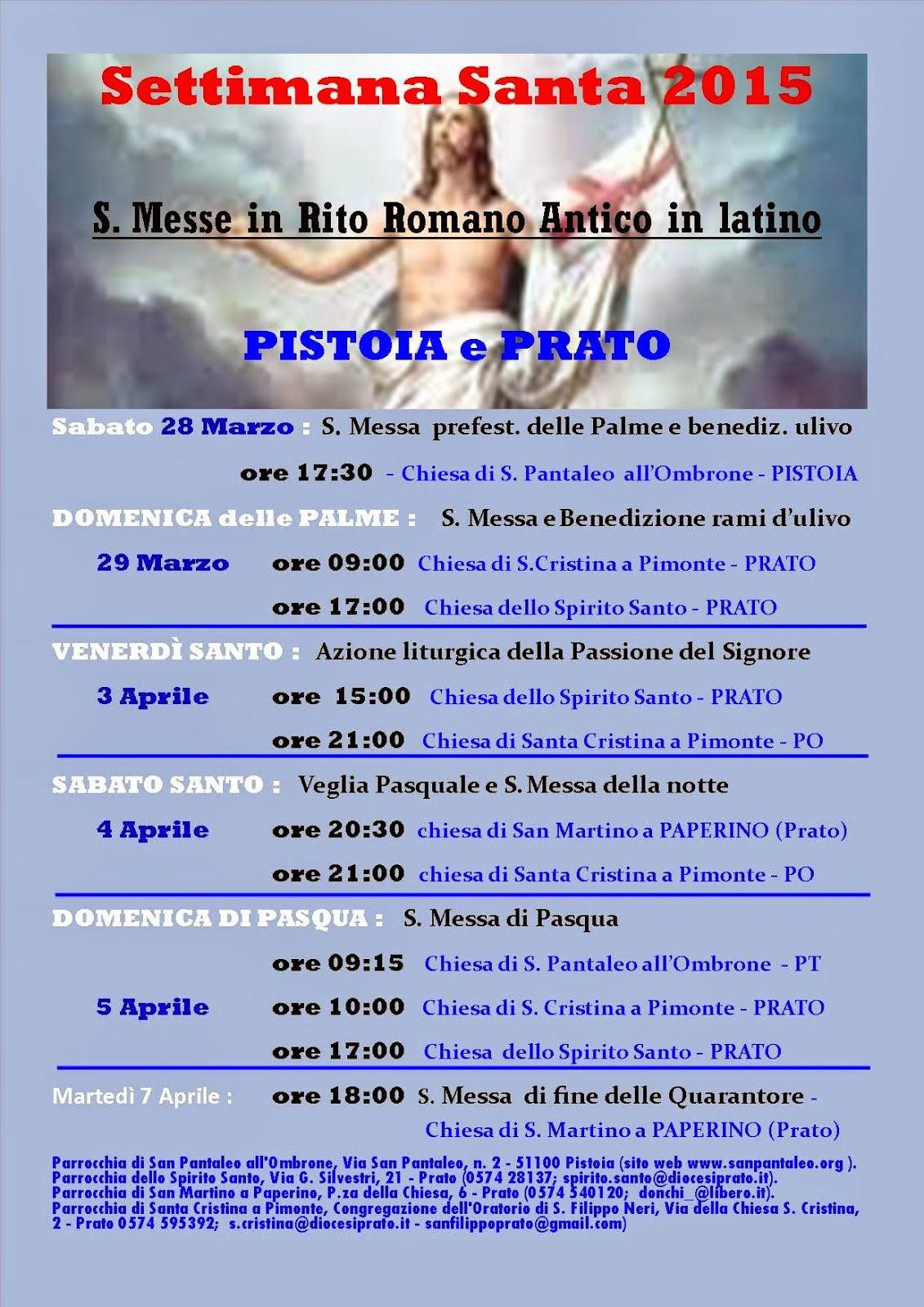 Settimana Santa in Rito antico a Prato e Pistoia