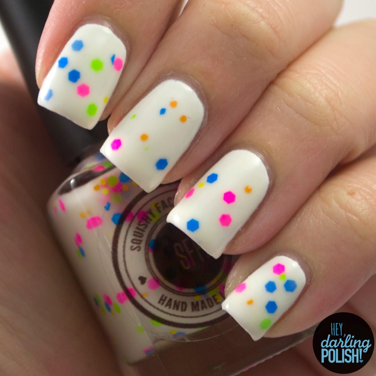 true colors, white, green, blue, pink, purple, neon, glitter, nails, nail polish, polish, indie, indie nail polish, indie polish, hey darling polish, squishy face polish