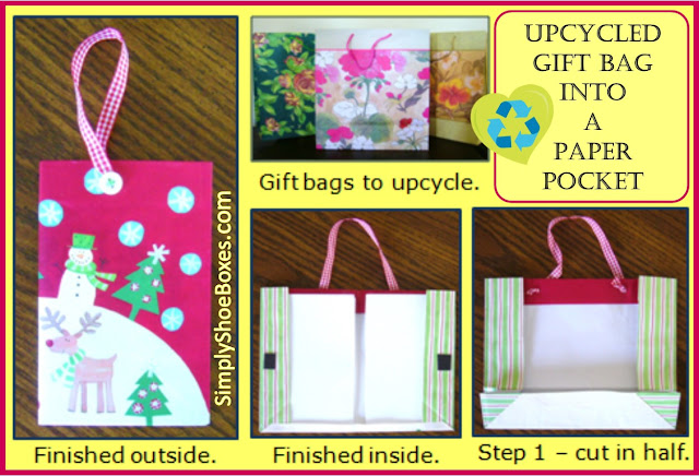Upcycled Gift Bag into paper pocket