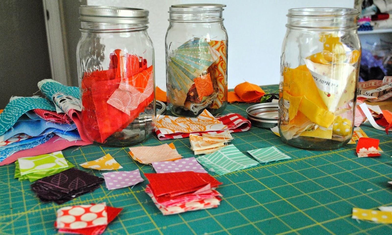 fabric scrap jars