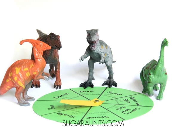 Dinosaur movement game for kids. This gross motor game is based on Dinosaurumpus the book and is a great activity for auditory and visual recall in kids.