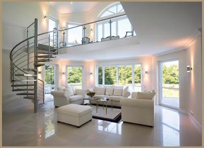 sala moderna con escalera