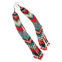 Купить очень длинные серьги из бисера (в этническом стиле)