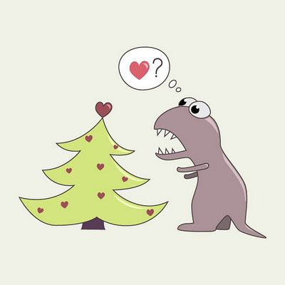 Funny dinosaur and Christmas tree