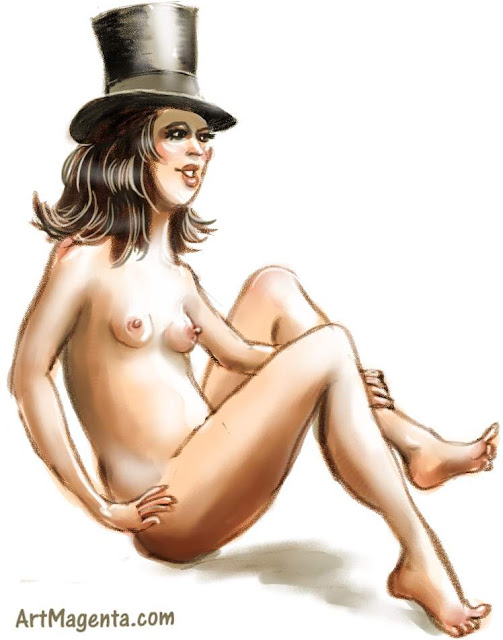 Pulling a rabbit out of a top hat is a figure drawing by artist and illustrator Artmagenta