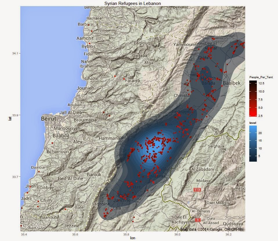 Syrian Refugee Density in Lebanon