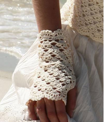 Guantes sin dedos crochet - Imagui