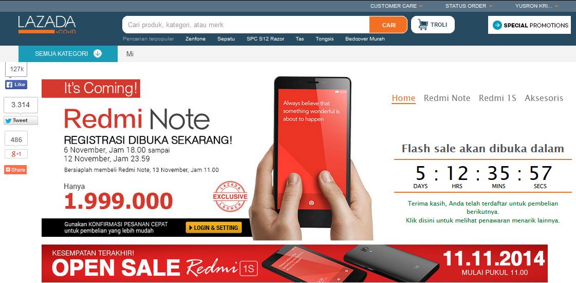 Kesempatan Terakhir Flash Sale Redmi 1S, Registrasi Redmi Note Dibuka
