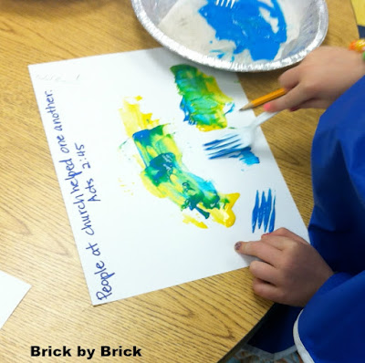 Fork Painting for Preschool (Brick by Brick)