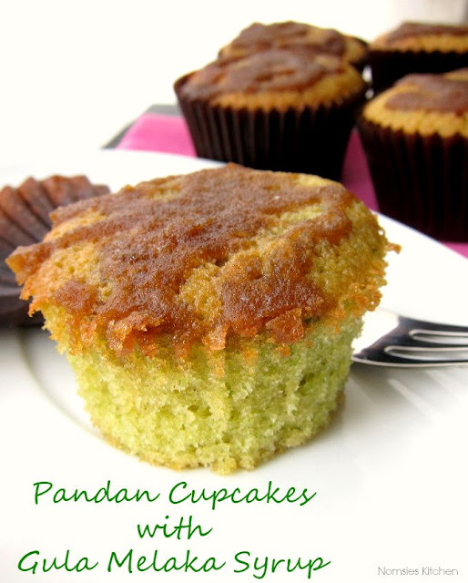 Pandan Cupcakes with Gula Melaka Syrup Recipe from Nomsies Kitchen