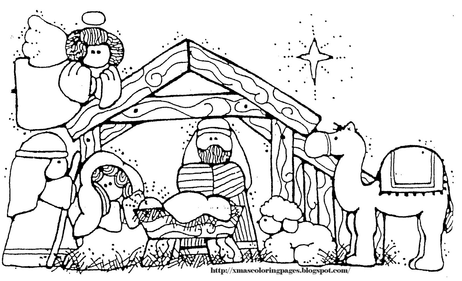 coloring pages of nativity scene - photo#34