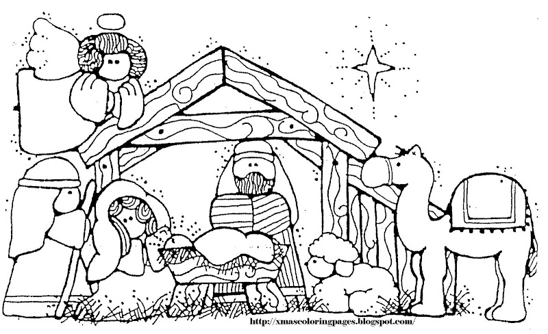 simple nativity coloring pages - photo#20