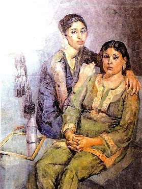 Painting of two seated women in muted blues and greens, one arm over the shoulder of the other