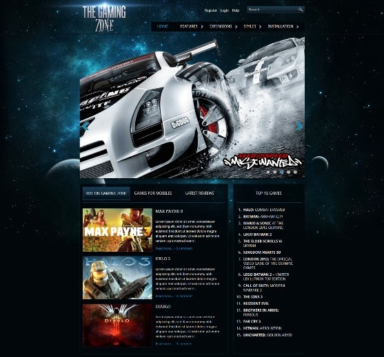 Gaming Zone Responsive Joomla Template