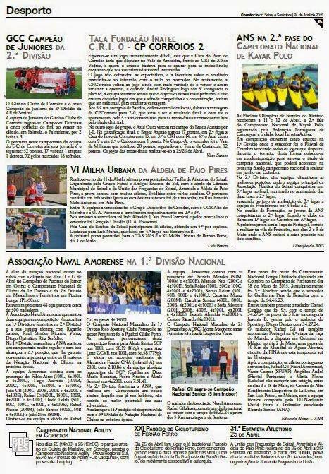 JORNAL COMÉRCIO SEIXAL e SESIMBRA nº 282 de 24 Abril de 2015
