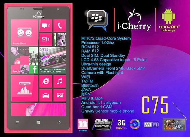 icherry c75 mirip nokia lumia seputar dunia ponsel dan hp