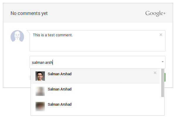 Google+ comments sharing option 1