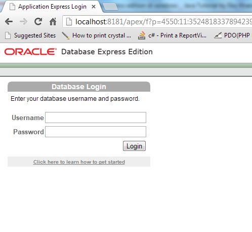 Setting port Oracle XE page success