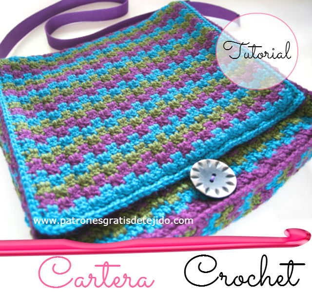 Cartera Crochet en Tres Colores / tutorial - video | Crochet y Dos ...