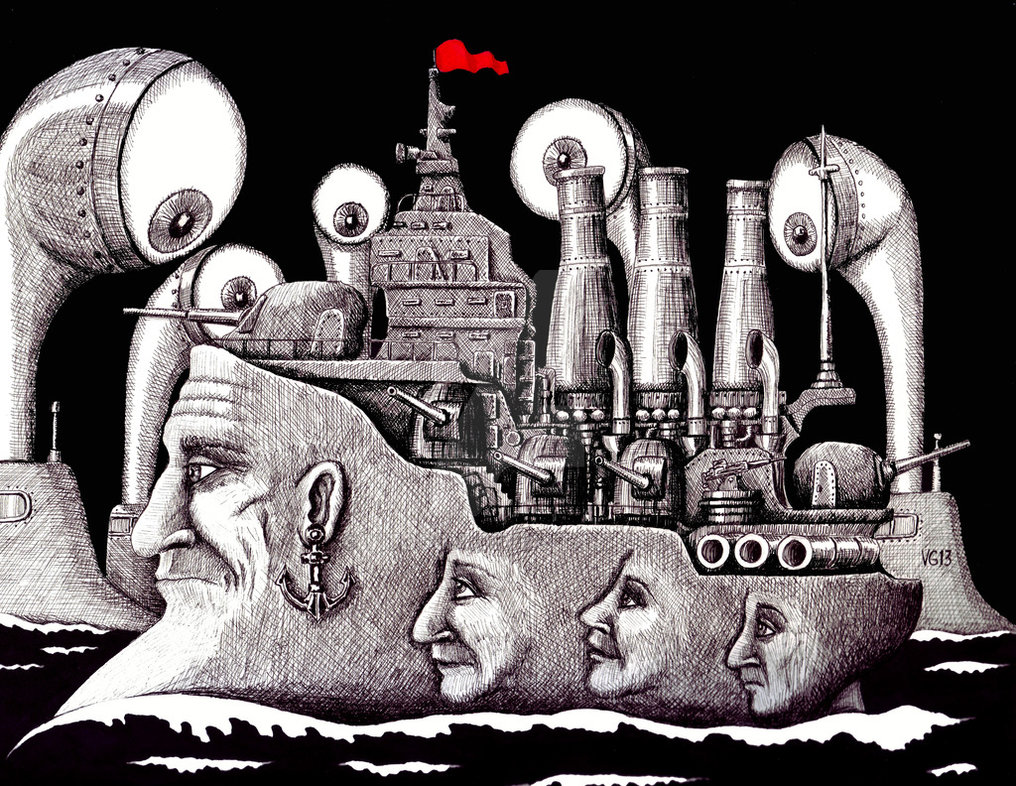16-Revolutionary-Ship-Vitaliy-Gonikman-Surreal-Black-and-White-Drawings-with-a-Message-www-designstack-co