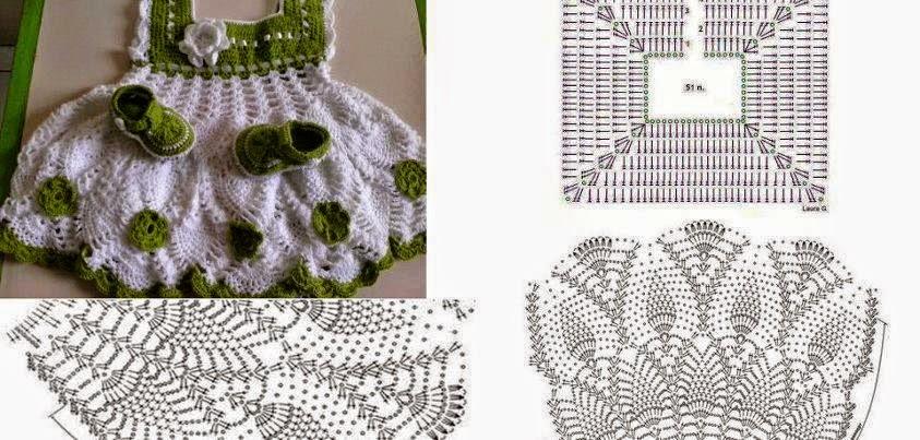 Vestido para bebé tejido al crochet - con esquemas