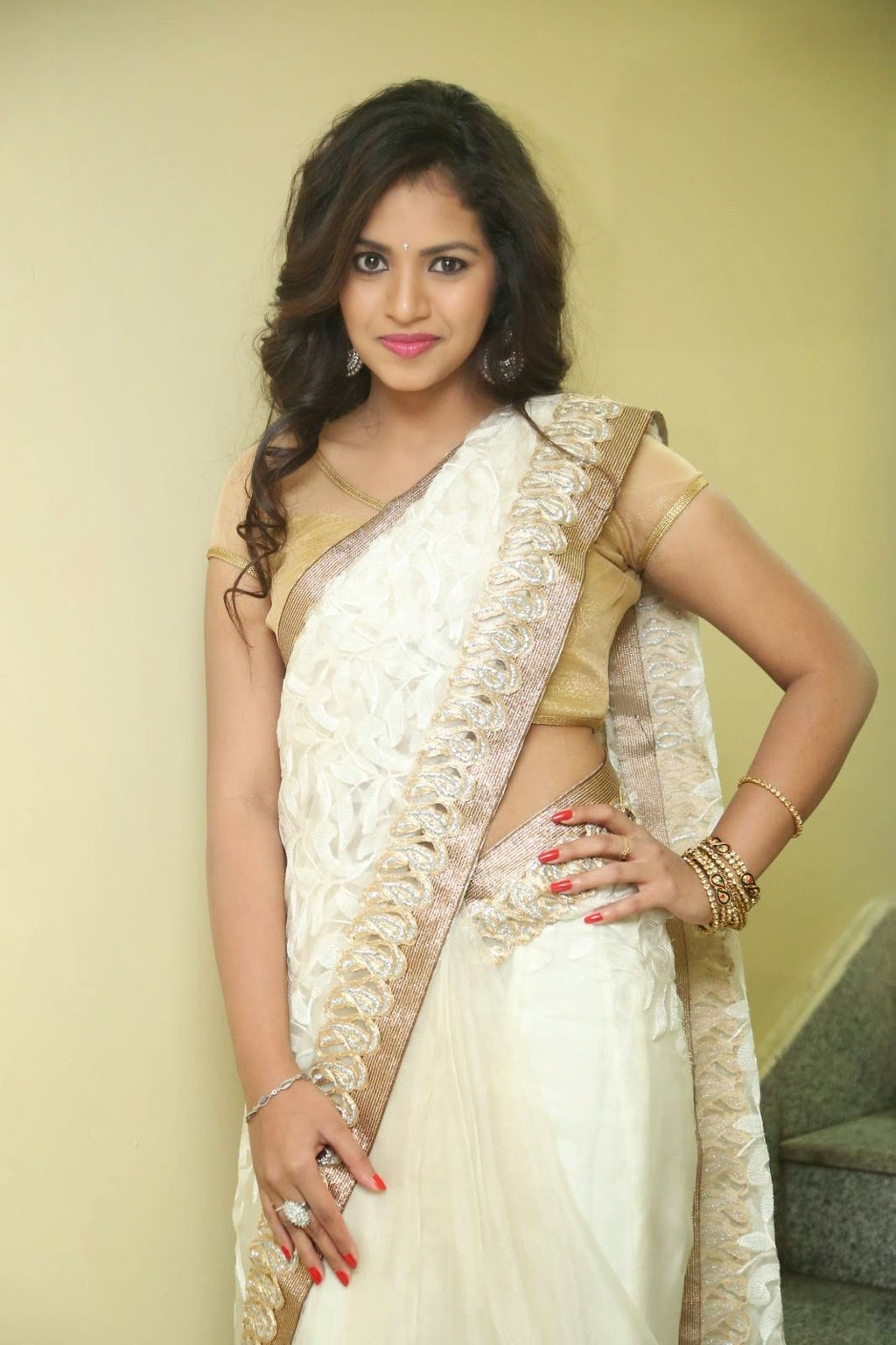 gowthami chowdary glamorous in saree-HQ-Photo-8