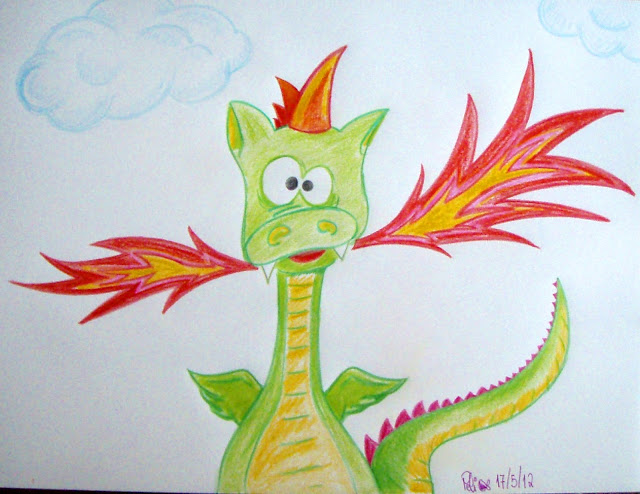 silly dragon funny coloured pencil drawing
