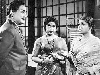 Shivaji Ganesan, Sowkar Janaki & Pandari Bhai in 'Motor Sundaram Pillai' Movie