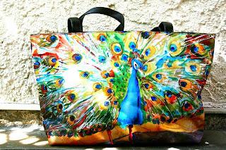 Handbag with Peacock Fabric and Leather trim