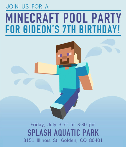 Minecraft pool party invitation