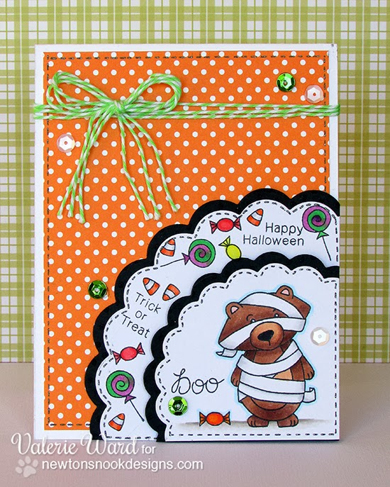 Cute Bear Halloween Card by Valerie Ward using Boo Crew Stamp set by Newton's Nook Designs
