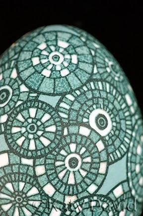 Friday Egg: Inner Workings Emu Egg Pysanky ©Katy David