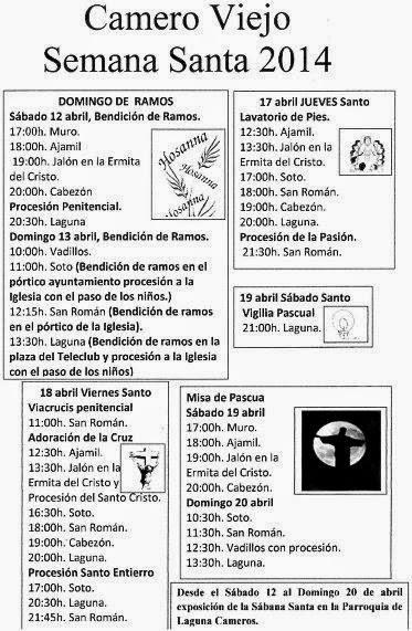 Actos Litúrgicos de la Semana Santa 2014 en el Camero Viejo