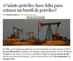 CUNTO PETRLEO HACE FALTA PARA EXTRAER UN BARRIL DE PETRLEO?