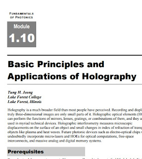 Fundamentals of Photonics : Basic Principles and Applications of Holography