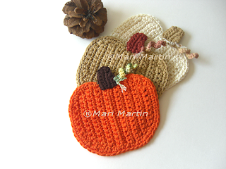 Crochet Coasters Pumpkin